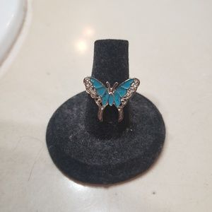 Silver & Blue Butterfly Ring